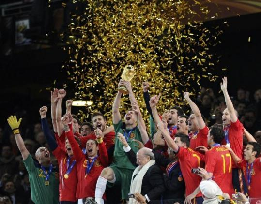 Spain celebrated its World Cup win after beating Netherlands at Soccer City stadium in Johannesburg last July.