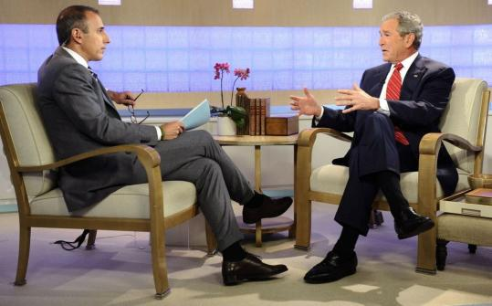 Matt Lauer interviews George W. Bush about the former president&#8217;s memoir last week.