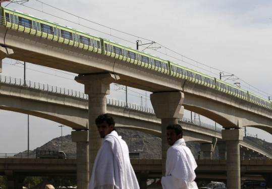 The elevated Mecca Metro train is set to begin operation today, connecting the holy sites of the annual Hajj pilgrimage.