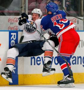 Sean Avery (right) was his usual annoying self, ramming the Oilers' Colin Fraser into the boards and sparking a melee.