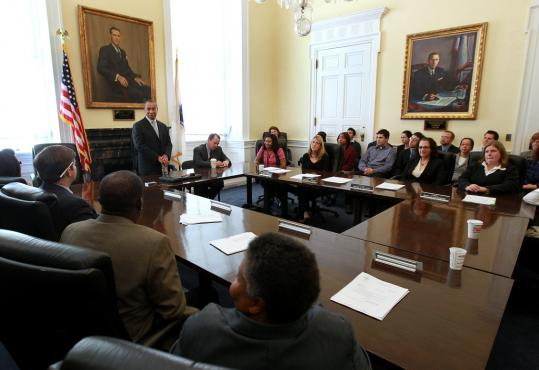 Governor Deval Patrick addressed his staff and Lieutenant Governor Timothy P. Murray Nov. 3 upon returning to the State House after winning a second term.