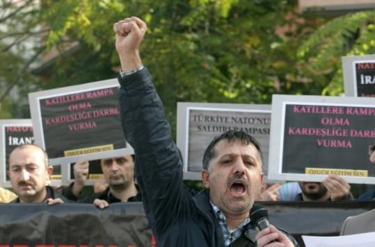 Demonstrators in Ankara protested the NATO missile shield project, a portion of which would be placed in Turkey.