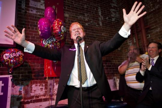 "Matthew J. O'Malley greeted supporters at his campaign party last night after he won the Boston City Council seat for the Sixth District, vacated by John Tobin. ""I cannot wait to get to work,'' he said."