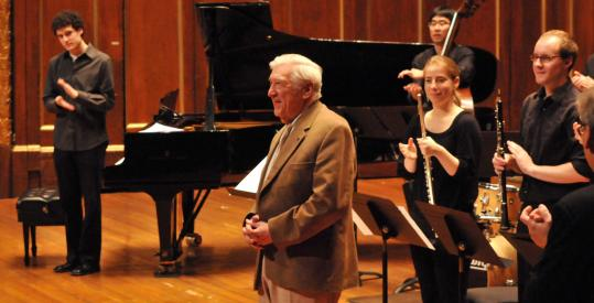 Gunther Schuller (center) at the end of New England Conservatory's 85th birthday salute.