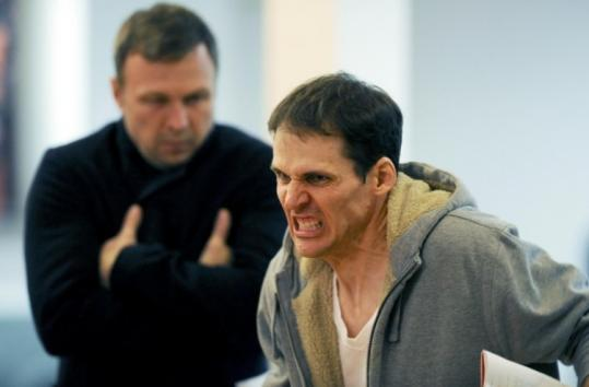 "At rehearsal, Tony Ward (left) plays a reporter and Joey Collins is a politician in ""Beasley's Christmas Party.''"