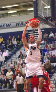 Dane DiLiegro shows a ferocious intensity playing basketball for the University of New Hampshire that rarely surfaced during his time on the Lexington High School squad.
