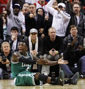 Questioning an official's call — Nate Robinson does the honors here — was a recurring theme for the Celtics against Toronto.