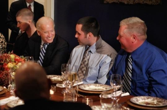 THANKS GIVEN — As he did last year, Vice President Joe Biden yesterday welcomed sick and wounded members of the military and their families to his family's residence in Washington, D.C., for Thanksgiving dinner.