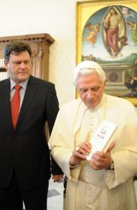 Pope Benedict XVI with Peter Seewald, the author of a new book of interviews with him.