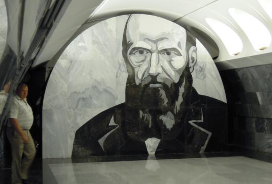 A Florentine mosaic of Fyodor Dostoevsky in the new Moscow Metro stop named for him.