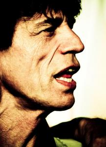 The exhibit on Mick Jagger includes this image made by Simone Cecchetti.