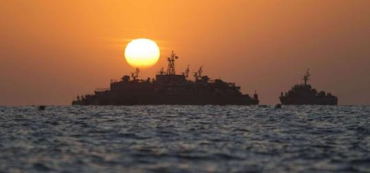 Naval vessels gathered near Yeonpyeong Island yesterday, as the United States and South Korea prepared for war games.