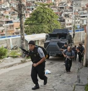 Police raided Alemao slums in Rio de Janeiro yesterday. The operation was crucial to the city's campaign against traffickers.