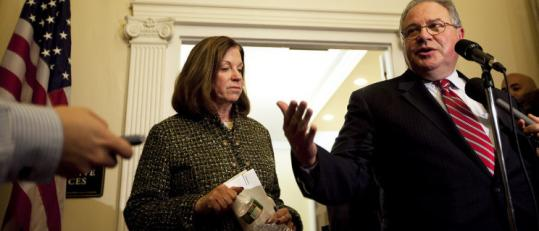 State Senate President Therese Murray and House Speaker Robert DeLeo spoke to reporters at the State House yesterday.