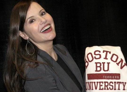 Geena Davis received a BU sweatshirt during her visit last night.