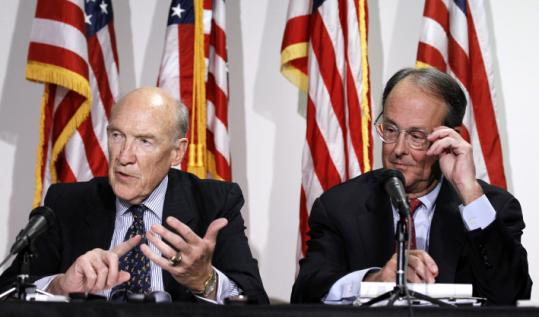 Erskine Bowles (right) and former senator Alan Simpson of Wyoming discussed a deficit reduction plan yesterday.