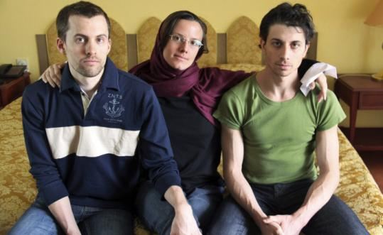 Sarah Shourd is flanked by her fiance, Shane Bauer (left), and their friend Josh Fattal at a Tehran hotel in May.