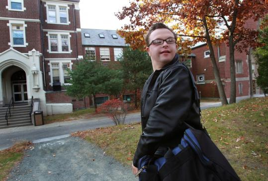 Ben Majewski, 20, has Down syndrome and is in his first semester at Massachusetts Bay Community College.