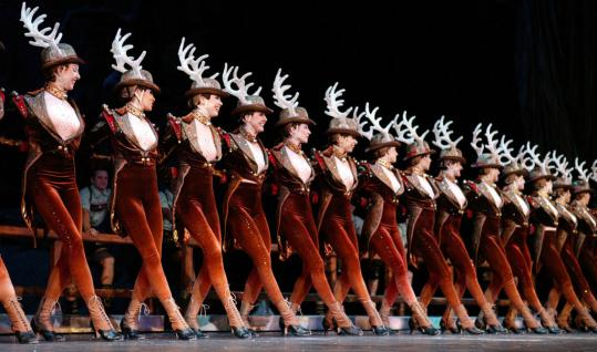 "The Radio City Rockettes performing in the ""Sleigh Ride'' dance number."