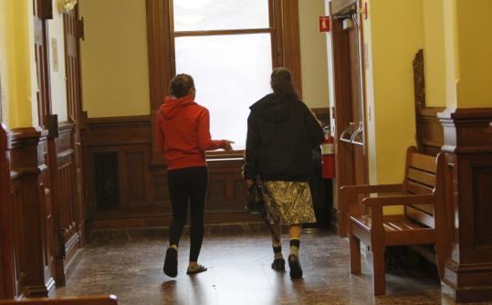 A 15-year-old left Middlesex Juvenile Court in Lowell with her mother after a recent hearing.