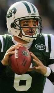 Jets QB Mark Sanchez is adept at leaving the pocket and passing on the run.