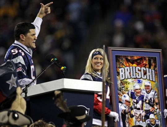 Tedy Bruschi, who helped the Patriots win three Super Bowls during his 13-year career and courageously returned to the field after suffering a mild stroke, was honored at halftime.