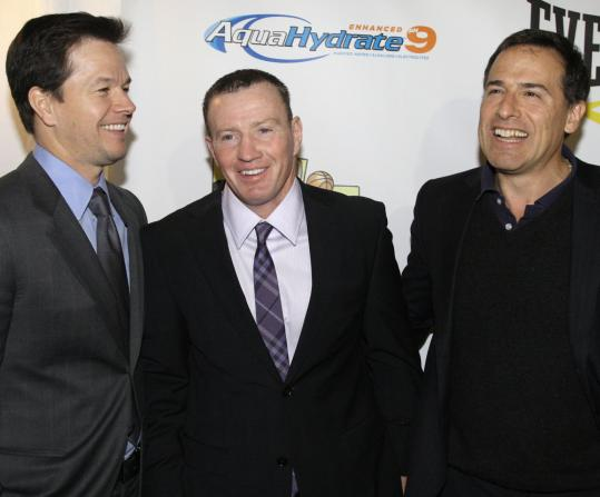"From left: Mark Wahlberg, ""Irish'' Micky Ward, and director David O. Russell at last night's screening of ""The Fighter'' in Hingham."
