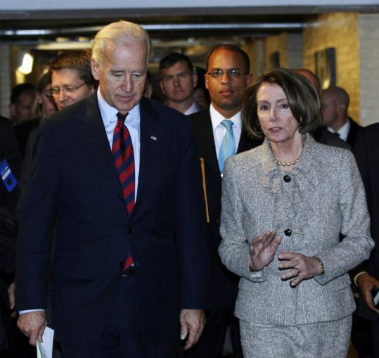 Vice President Joe Biden and House Speaker Nancy Pelosi talked after a Democratic caucus on Capitol Hill yesterday.