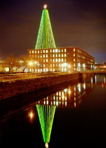 The tree created by lights strung along the smokestack at the Wannalancit Mill in Lowell is dark this year.
