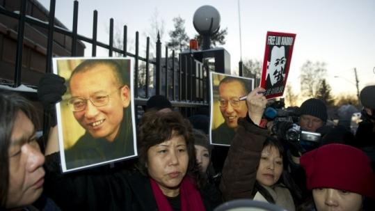 Protestors gathered yesterday outside the Chinese embassy in support of Nobel laureate and dissident Liu Xiaobo in Oslo