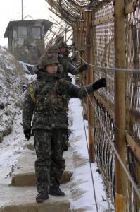 South Korean soldiers patrolled the demilitarized zone between the two Koreas, where tensions still remain high.