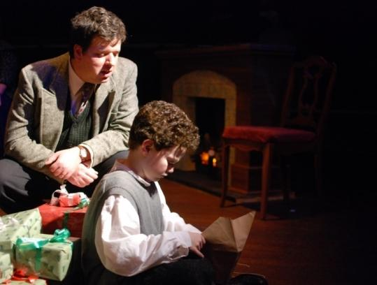 "Stephen Libby (left) and Adam Freeman as the adult and young Dylan in ""Dylan Thomas's A Child's Christmas in Wales.''"