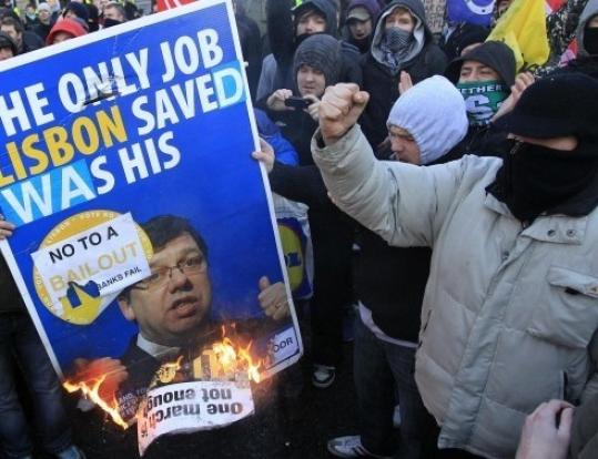 Demonstrators have burned images of Prime Minister Brian Cowen since Ireland's economy collapsed.