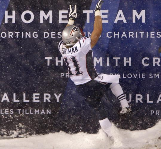 Julian Edelman's wild celebration after he ran back a punt in the first half was short-lived; the play was called back.