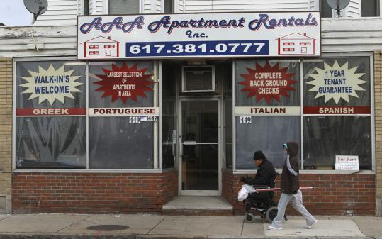 A rental agency on Ferry Street in Everett, a city where US Census Bureau data show that one-third of residents are foreign-born.