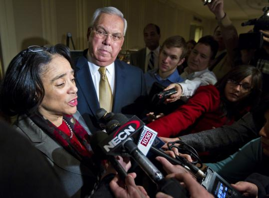 Mayor Thomas M. Menino sought education overhaul in a speech yesterday, adding that he backed a school closing plan by Superintendent Carol R. Johnson, seen with Menino afterward.