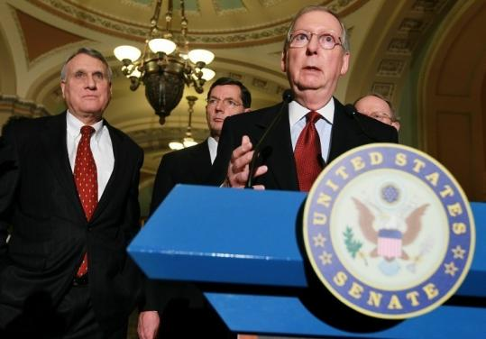 Senate minority leader Mitch McConnell, Republican of Kentucky, spoke to the media about the omnibus bill yesterday.