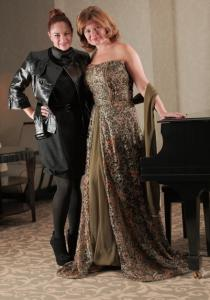 Gail Huff in the gown that designer Nara Paz (left) created for her.