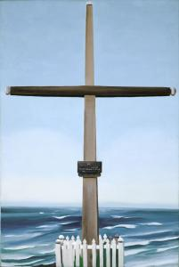 Georgia O'Keeffe's 'Cross by the Sea' is displayed in a glass case that shows both the front and the back.