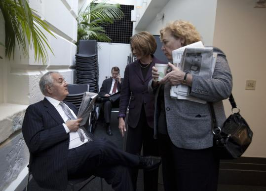 House Speaker Nancy Pelosi (center) talked with Representatives Barney Frank of Massachusetts and Zoe Lofgren of California outside the Democratic Caucus room yesterday.