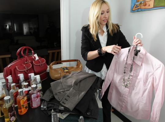 Elsbeth McSorley of Boston displayed items that she felt compelled to purchase in a recent flash sale spree.