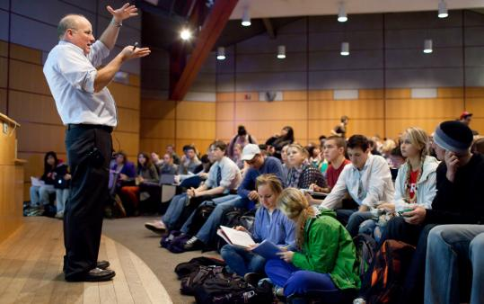 The 469-seat Mahar Auditorium at UMass Amherst was overbooked for Randall Phillis's biology class.