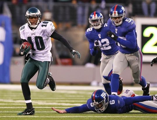 DeSean Jackson breaks free from the Giants during his winning punt return on the final play.