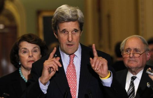 Senator John Kerry (above) spoke in Washington on the New START treaty, which won the support of Senator Scott Brown.