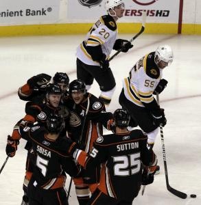 The Ducks celebrate a first-period goal by Brandon McMillan, which turned out to be all they would need.