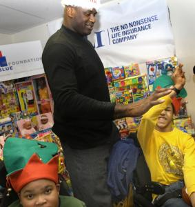 Shaquille O'Neal at the Franciscan Hospital for Children yesterday.