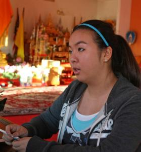 Nichanan Agrasuta on a recent visit to the Buddhist temple.