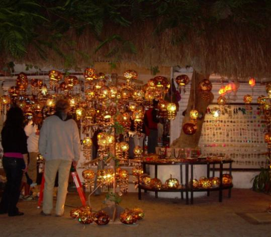 Lights carved from jicara fruit and gourds adorn a Jellyfish Co. shop in Playa del Carmen.