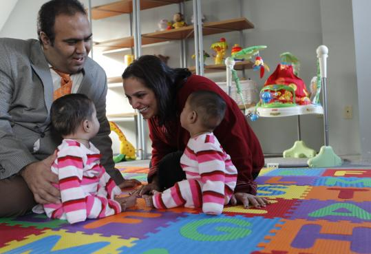 Jeet and Shal Shahani, with twins Raiva and Rayna, waited until her career was established to begin a family.