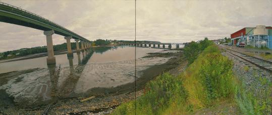 "Rackstraw Downes's painting ""The Mouth of the Passagassawakeag at Belfast, ME, Seen From the Frozen Foods Plant'' at the Portland Museum of Art."